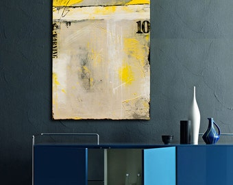 Yellow and Gray Canvas Painting 24x48 Wall ART Painting