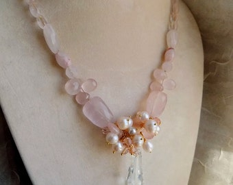 on sale Pink quartz necklace, pearls necklace with vintage crystal pendant