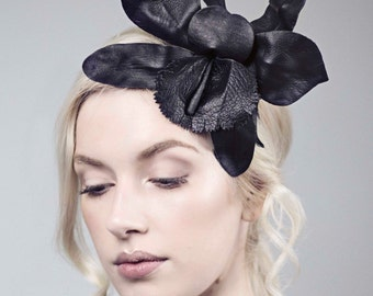Black Fascinator, Leather Orchid Headpiece, Floral Hair Band, Festival Flower - Blume