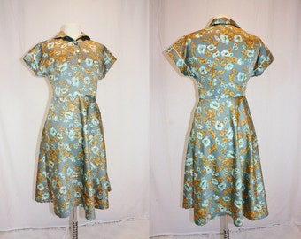 1970's Silvery Blue Dress Floral Casual  Day Gold Vintage REtro 70s short sleeves Medium Hipster Soft