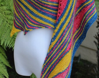 Pink Yellow and Cobalt Blue Many Rivers Pure Merino Wool Asymmetrical Shawl or Scarf