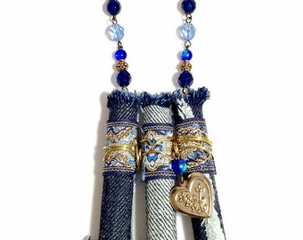 Long Blue Necklace, Denim Necklace, Upcycled Fabric , Fiber Art, Wearable Art, Repurposed Jewelry