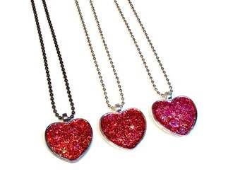 Sparkly Glitter Heart Necklace Pendant, Faux Druzy, Heart Jewelry, Valentines Gifts Cute