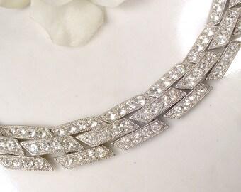 Antique Art Deco Rhinestone Bracelet, Paste Crystal Wide Link Bracelet, Vintage Wedding 1930s Silver Pave Flapper Jewelry 1920s Bracelet