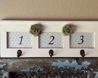 White Picture Frame with hooks Key Holder Burlap Flowers Farm Rustic Shabby