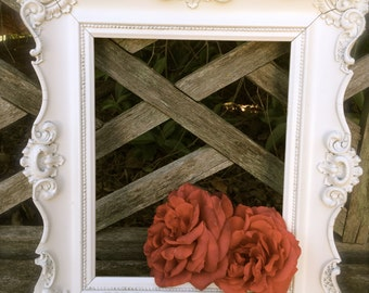 Vintage White Baroque 8x10 Chippy Wood Frame Detailed