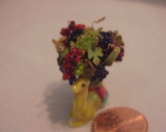 Dollhouse Miniature Porcelain Camel basket with assorted grapes IGMA Fellow J Uyetake