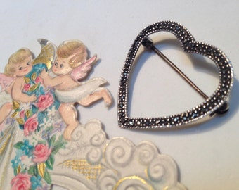 Lovely Heart Pin - Marcasite and 925 Silver - 1980s Valentine Jewelry