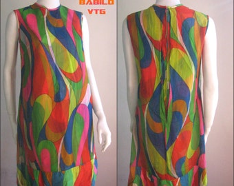 60s vintage multicolored dress