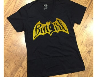 Bat Girl T-Shirt #1 YELLOW GOLD GLITTER for Ladies or Ladies V-Neck Tee Women's BatGIRL Inspired Design