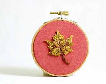 Ready to Ship! Gold Maple Leaf Autumn Punch Needle Embroidery Hoop Art. Eco Friendly Home Decor. Rustic, Woodland. Yellow, Red. 3 Inch Hoop.
