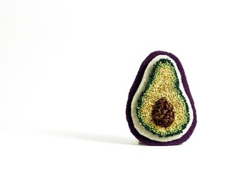 Sparkle Avocado Pin. Punchneedle Embroidery. Green, Purple, Brown. Fiber Art Jewelry. Quirky Fun Fashion by HarpandThistle