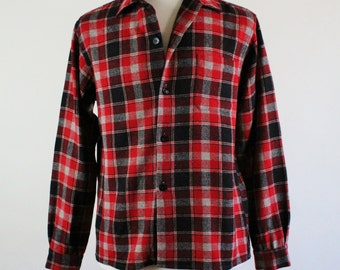 Vintage 70s Plaid Black Red Gray Lumberjack Woodland Cabin Wool Fall Winter Shirt - Mens Size Medium