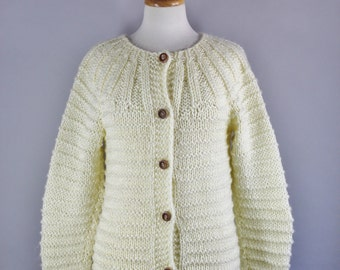 70s Women's Sweater, Boho Bohemian Cream Long Wood Buttons Chunky Knit Fisherman's Style Fall Winter Cardigan Sweater