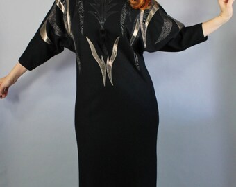 Vintage 80s Women's Wool Modern Design Unique Black Fall Winter Long Dress