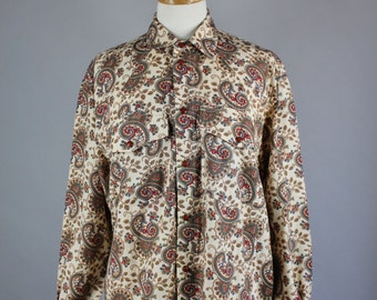 Vintage 90s Women's Boho Western Paisley Snap Button Fall Long Sleeve Wear to Work Shirt Blouse