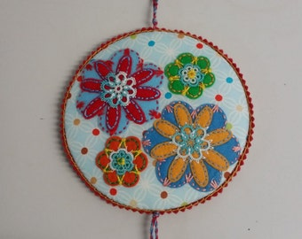 Four Felt Flowers with Tatted Embellishments Pin keep Sewing Accessory