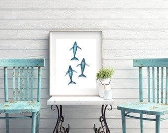 Humpback Whale Migration Watercolor Digital Download, Whale art, Printable Art, Humpback print, Whale painting, Whale Print, Beach House