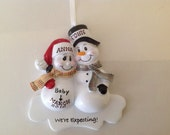 Personalized Christmas Ornament Pregnant Snowman Couple,Expecting Parents Mom to be, Dad to be