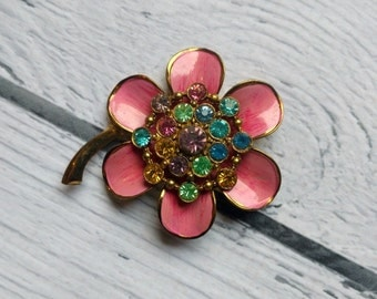 Vintage Pink Flower Pin - Large Flower Pin - Rhinestone Flower Brooch - Pink Flower with Rhinestone Center - 1960s Costume Jewelry