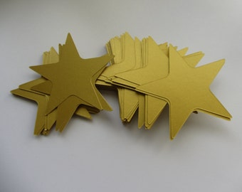 Gold Stars 60 Large Gold Paper Stars Wedding decorations Paper Die Cut Stars Scrapbooks