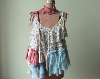 Tattered Shabby Chic Tank Top, Funky Ruffle Shirt, Mori Girl Clothing, Shirt Refashion, Pixie Faerie Tops, Upcycled Clothing, Ragamuffin