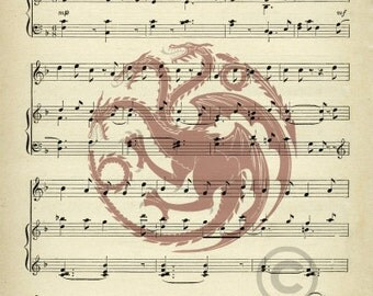 Game of Thrones House Targaryen Fire and Blood Vintage Upcycled Sheet Music Art Print