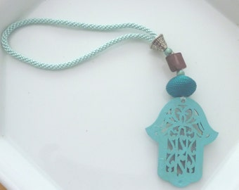 Moroccan  hamsa decorative wooden cut out  beaded charm