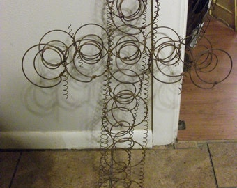 Vintage Primitive Shabby Rusty Bed Spring Cross - Large