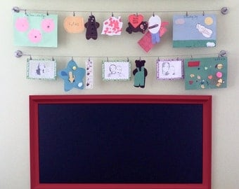 "KIDS PLAYROOM CHALKBOARD For Sale 53""x29"" Huge Magnetic Kids Playroom Decor Ideas Long Rectangular Chalk board - ExTRA LaRGE Red Framed"
