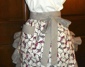 Fun, Flirty, Sassy Hostess Waist Apron 21 In Hello Kitty by Nanasaprons Handmade for Fun Cooking Baking