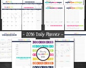 """Happy 2016 Daily Planner Printable PDF Calendar - 8.5"""" x 11"""" A4 Letter Size - instant download"""