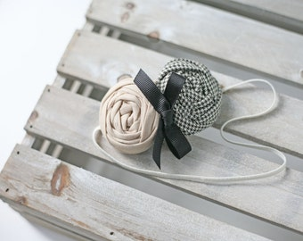 Hello Houndstooth- black tan ivory houndstooth double rosette headband bow