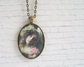 Antique Picture Necklace Glass Cameo Pendant Vintage Photo Jewelry Edwardian Girl in Green Dress