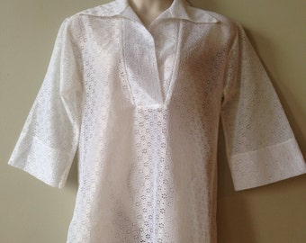 Plus Size Vintage Shirt White 60s Beach Cover Up Cole of California Summer Swim Sheer