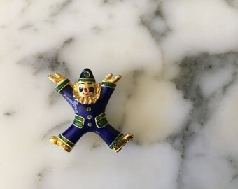 Retro Blue Enamel Clown Pin Brooch