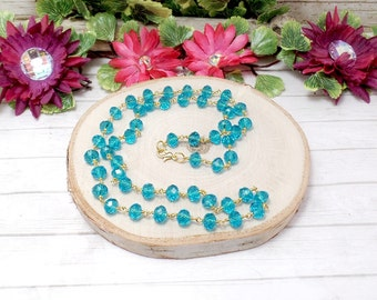 Blue Glass Beaded Chain Necklace