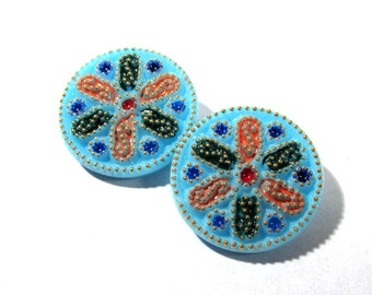 Czech Glass Buttons Hand Painted 27mm VINTAGE Czech Buttons Two (2) Blue Czech Glass Vintage Buttons Wedding Jewelry Supplies (N53)