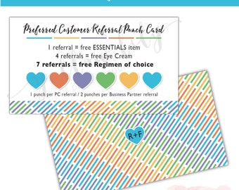 Rodan and Fields Preferred Customer Punch Card - Instant Download / Business Card / Preferred Customer Referral Card / Rodan + Fields