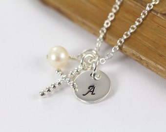 Baptism Gift for Girls Religious Jewelry - Initial Cross Pendant Necklace 925 Sterling Silver