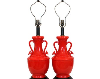 XL Pair Asian Modern Red Pottery Urn Lamps Hollywood Regency Modern