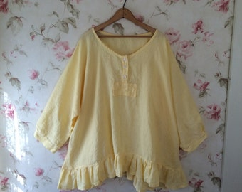 Washed Linen Shirt Soft Yellow Linen Romantic Tunic Sweet Prairie Lagenlook  Ready To Ship One Size