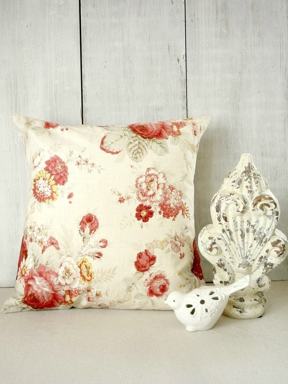 Shabby Cottage Chic Pillow Cover Red Roses by greenwillowpond