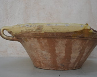 Antique French Confit Bowl Semi Glazed Earthenware Tian, Confit Pot, Cassoulet Bowl