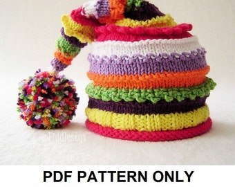 Knitting Pattern - Stocking Hat Pattern - the LUCY Hat (Newborn, Baby, Toddler, Child & Adult sizes incl'd)