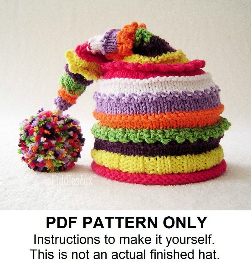 Knit Stocking Cap Pattern : Knitting Pattern - Stocking Hat Pattern - the LUCY Hat (Newborn, Baby, Toddle...