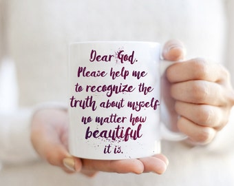 Beautiful Morning Prayer Mug - Lifestyle Quote Watercolor Typography Coffee Cup Mug - Yoga Boho boho Gift For Yogini, for course in miracles