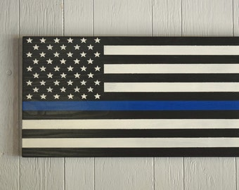 Large Wooden American Flag, Rustic American Flag, Thin Blue Line Flag, Police Flag