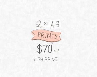 """A3 or 11 x 14""""  Nursery Poster Print- 2 Pack - by HoneyCup"""