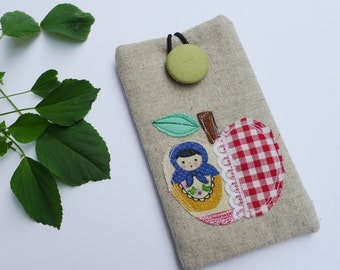 Phone Sleeve, iPhone SE Case, iPhone Cover, iPhone 5S Sleeve - applique Apple Cute Russian doll, matryoshka